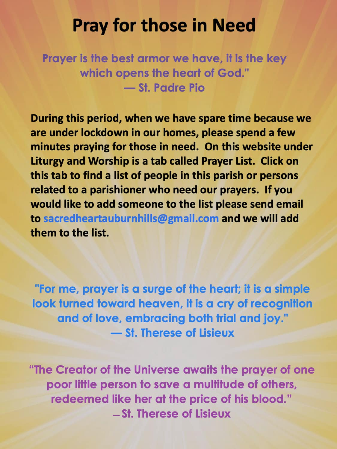 Our Prayer List intentions